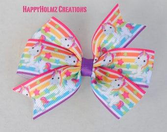 Unicorn hair bow, baby hair bow, toddler hair bow, no slip hair bow, 3 inch hair bow, unicorn ribbon, girl unicorn bow, rainbow hair bow
