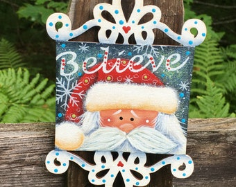 Santa ornament, Christmas ornament, Christmas decoration, Santa Claus ornament, Christmas Santa, wood Santa, believe, Christmas tree