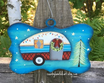 Vintage camper, camper ornament, happy camper, personalized ornaments, camper decor, Christmas ornament, Christmas decor, camping gift