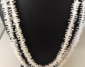 Vintage Faux Bleached White Stick Coral Super Light Weight Super Long Fun Necklace