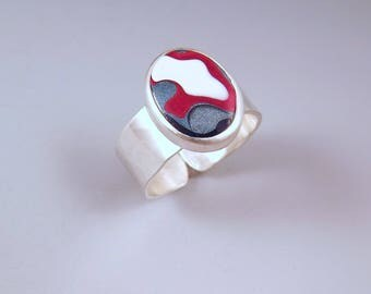 Fordite- Detroit Agate- Red, White, and Blue- Michigan Made- Fordite Silver Ring