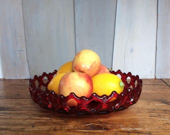 Vintage Westmoreland Doric Lace Red Glass Fruit Bowl / Red Lace Bowl / Art Glass