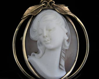 High Relief Cameo 14k Gold Pendant Brooch Pin FOB Estate Vintage Art Nouveau