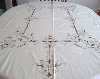 Vintage Tablecloth & Napkins-Emb and Cutwork
