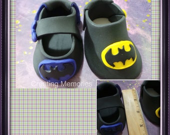 GENDER Reveal Superhero Baby Shoes - Cake Topper Made of Vanilla Fondant boy or girls ready to place on your cake or table center piece