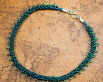 KUMIHIMO CHOKER Drop Necklace Teal Green Blue Necklace Gift for Her Valentines Gift Mother's Day Gift Christmas Gift Birthday Gift Hand Made