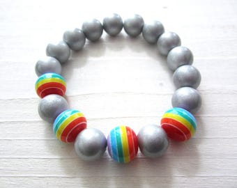 Stretchy Bracelet Rainbow Beads and Silver Beads