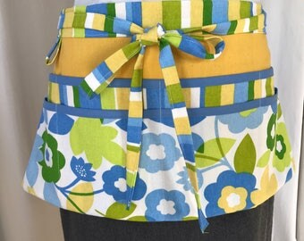 Half Apron with pockets - blue green yellow white floral and stripes - vendor Apron - Utility Apron - Garden Apron - gardeners gift
