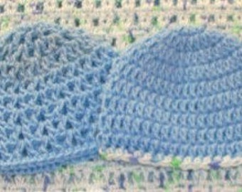 Preemie or Small Newborn Baby Beanies - Set of Two in Light Blue
