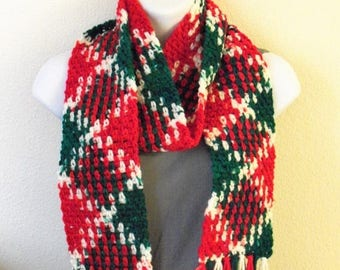Christmas In July Sale Christmas Harlequin Scarf with Fringe