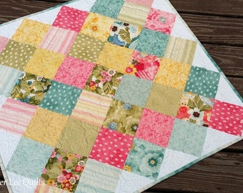 Modern Patchwork Baby Quilt with Pink, Turquoise, Yellow, Green Flowers - Ready to Ship