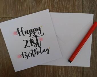 21st birthday card, birthday card, Greetings card, 21st card, personalised card, floral birthday card, handmade birthday card, handmade