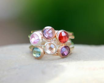 ROSE , GOLD & SILVER Birthstone Rings - stacking birthstone rings - pink gold birthstone rings - gold birthstone rings - silver birthstone