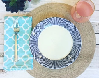 Large aqua blue reversible cloth napkins. Pair (2) of cloth napkins with reversible damask and polka dot pattern.  Dinner napkin reusable