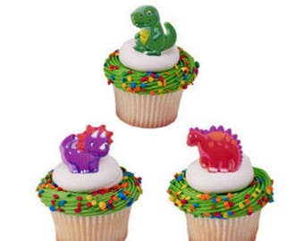 12 Dino Pals Dinosaur Cupcake Cake Rings Birthday Party Favors Toppers