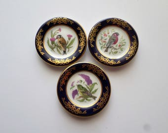Collectable Miniature Bird Plates, Bull Finch, Greenfinch, European Goldfinch,  Franklin Porcelain, limited edition 1983