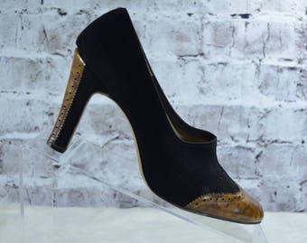 vtg 40s Lou Golard Salon Shoes black suede leather pumps heels 5.5