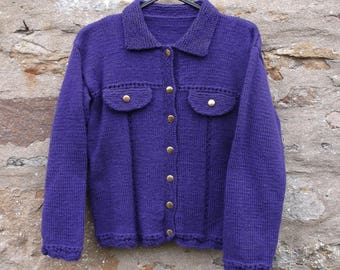 """Teen girl's hand knitted purple collared jacket. 30"""" chest."""