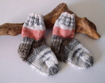 Multicoloured  hand knitted self patterning baby boy or girls socks. 9 to 18 months. UK 3  EU 19  US 3.5 Grey and orange