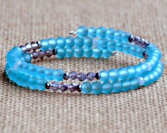 Blue Frost & Sparkle Dainty Wrap Bracelet