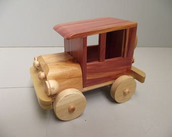 Wooden Toy Car #C- 1011 for Children Old Vintage Model-T Ford Style Eco Friendly Reclaimed Wood Natural Organic