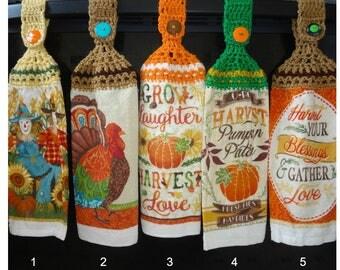 Crochet Top Hand Towels Fall Decor Thanksgiving Farmers Market Turkey Pumpkin