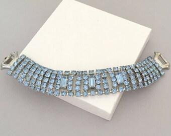 Vintage Rhinestone Jewelry Statement Bracelet - 1950s Blue Rhinestone Bracelet - Bridal Jewelry Bracelet - Wedding Jewelry Bracelet Gift