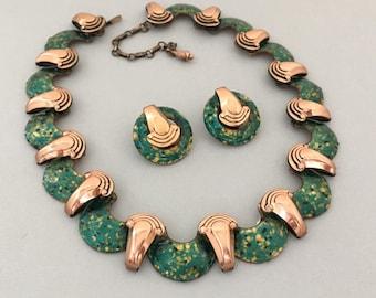Mattise Enamel Jewelry Set - Matisse Copper Jewelry Set - Matisse Green Enamel Necklace Earrings Set - Copper Necklace Clip on Earrings