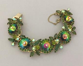 JULIANA Rhinestone Bracelet - Juliana Margarita Bracelet - Green Rhinestone Statement Bracelet - Vintage Designer Jewelry Bracelet Gift