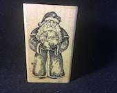 Paix sur terre Santa Clause Rubber Stamp