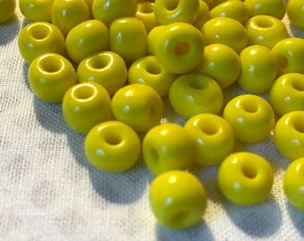 Yellow 6 mm Beads | Lemon Yellow Beads | Loose Beads | Yellow Glass Beads | Craft Beads | Summer Beads | Bead Supplies