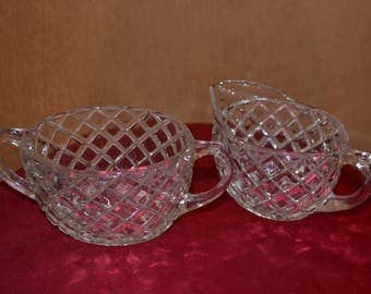 Hocking Waterford Waffle Sugar and Creamer, c. 1938-1944