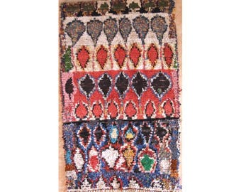 "180X110 cm 5'10"" x 3'7""   T30209  boucherouite , boucharouette,  moroccan rugs , berber rugs, morocco carpets"
