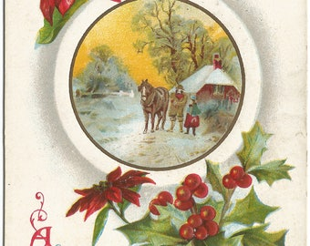 Jolly Yule-tide Greeting Red Poinsettia Horse and Cottage Vintage Postcard Christmas Greetings