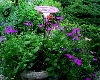 PATIO GARDENING, Hummingbird Feeder, stained glass, copper, PINK,  Outdoor Home and Living, Garden Stake