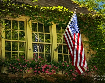 Window with Flower Box and American Flag, Photograph, Bucks County, Pennsylvania, Inn at Phillips Mill, Historic, Ivy, Fine Art Photography