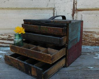 Vintage Primitive Wooden Parts Box, Wood Tool Carrier, Primitive Box