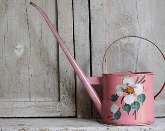 Vintage French Pink Metal Watering Can, Cottage Garden, Houseplant Watering Can