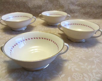 Lot 4 Bullion Cups Franciscan Arden 2 Handle Bowls White Red Leaf Pattern