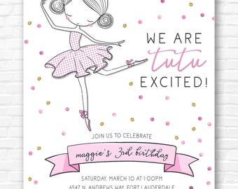 Tutu Ballerina Birthday Invitation