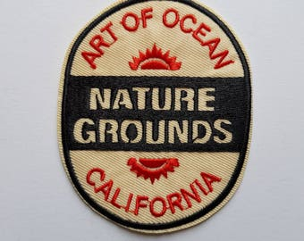 1pc California Travel Patch  Embroidered Applique Patch. Cream Red & Black Iron On or Sew On Badges for T-shirts, Jeans, Shirts 8.7cm high