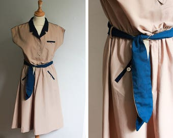 Vintage Khaki and Navy Shirt Dress with Belt
