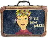 suitcase, cosmetic case, small suitcase, train case, hand painted, New York City, vintage luggage, overnight, weekender,hard sided