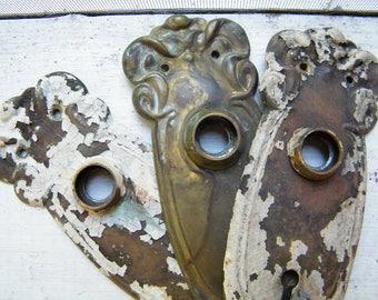 Old Vintage  Art Deco Door Knob Escutcheon Key Hole Backplates Door Hardware 3 Pieces