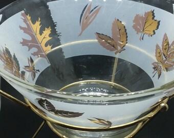 Vintage large glass bowl with stand, Golden Foliage by Libbey,  midcentury modern, vintage barware, MCM, gold leaf bowl