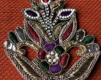 15% off on Big Flower Hand embroidered applique in gold and bronze with faux Swarovski crystals