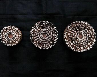 Bargain Set Dotted Circle Mandala Indian block printing stamps/wooden block for printing/ paper and fabric printing stamp