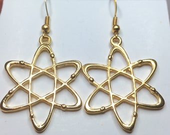 Gorgeous Geekery Gold-Plated Rutherford's Atom Earrings - Physics, Chemistry, Science, Laboratory - Great Gift!