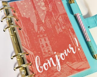 Personal Size Splattered Watercolor Red Coral Paris Downtown City Street Bonjour France Laminated Dashboard Filofax Kikki k Planner