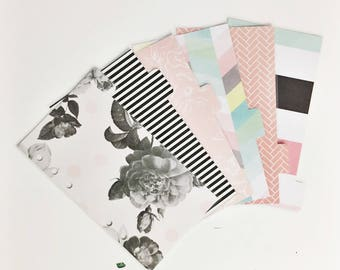 Double Sided Personal Sized Laminated Dividers For Filofax Medium Kikki-k Planner Bold Vintage Floral Black and White Pastel Designs
